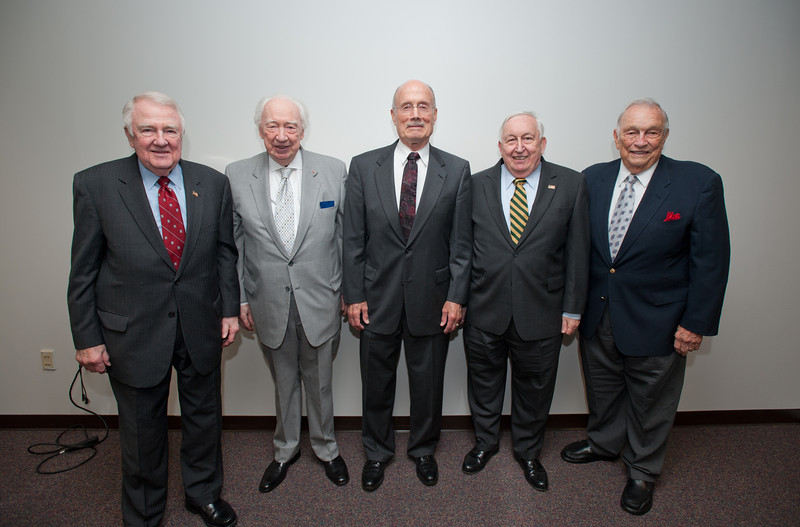 (L to R) Edwin Meese, Sidney Dewberry, Rector Ernst Volgenau, Marvin Murray, and Stanley Harrison attend a Board of Visitors meeting at Fairfax Campus. Photo by Alexis Glenn/Creative Services/George Mason University