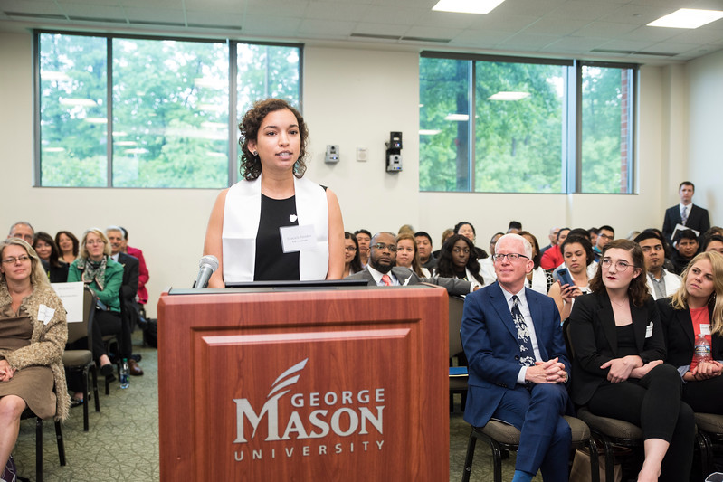 Graciela Pereddo, EIP graduate at the B.O.V. 2017.  Photo by:  Ron Aira/Creative Services/George Mason University