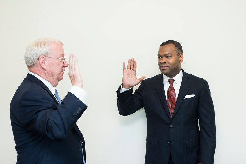 Horace Blackman gets sworn in as a new member for the Board of Visitors George Mason University.  Photo by:  Ron Aira/Creative Services/George Mason University
