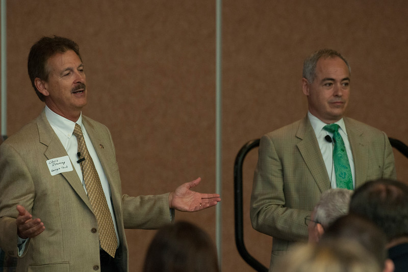 George Mason University President Ángel Cabrera and Chris Downing, P.E. Vice President of the Enterprise Innovation Institute at Georgia Tech, give the keynote speech at the Fairfax West Campus Vision Workshop.  Photo by Bethany Camp/Creative Services/George Mason University
