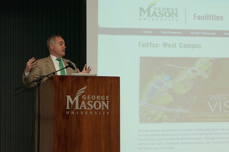 President Ángel Cabrera leads the vision and opportunities discussion at the Fairfax West Campus Vision Workshop.  Photo by Bethany Camp/Creative Services/George Mason University