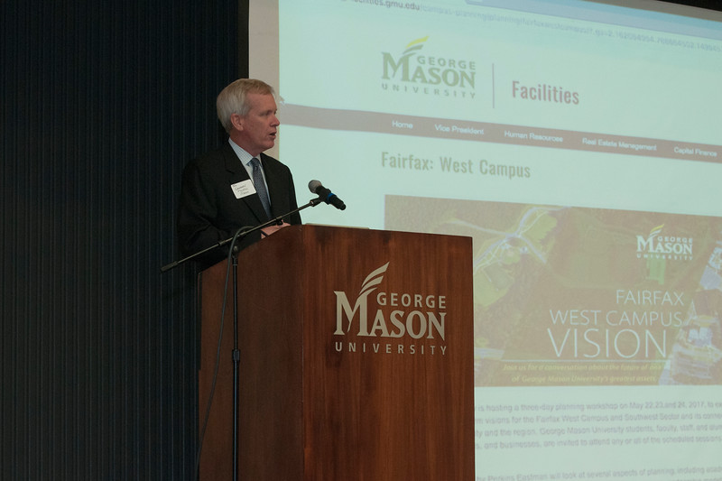 Vice President of Facilities Tom Calhoun introduces the goals of the Fairfax West Campus Vision Workshop.  Photo by Bethany Camp/Creative Services/George Mason University