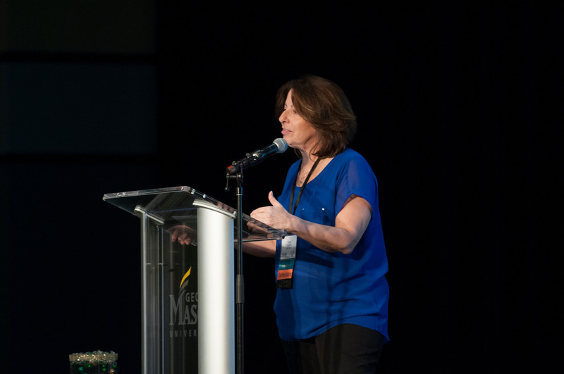 Rose Pascarell, Vice President of University Life, speaks at the Diversity and Well-Being Summit. She helped set the context for what would be covered during the summit. (Bethany Camp/Creative Services/George Mason University)