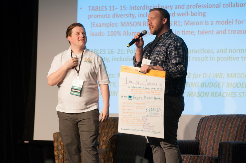 Attendees at the Diversity and Well-Being Summit give presentations about strategies that their groups have come up with in order to create an ideal future. (Bethany Camp/Creative Services/George Mason University)