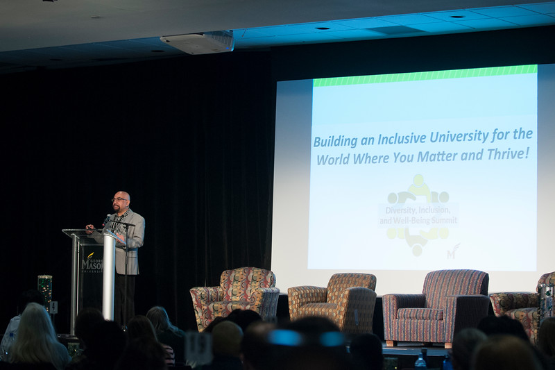 Dr. Tojo Thatchenkery speaks at the Diversity and Well-Being Summit. (Bethany Camp/Creative Services/George Mason University)