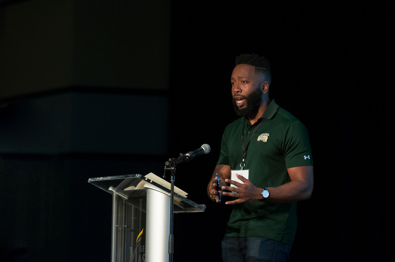 Julian Williams, Vice President of Compliance, Diversity, & Ethics, speaks at the Diversity and Well-Being Summit. He helped set the context for what would be covered during the summit. (Bethany Camp/Creative Services/George Mason University)