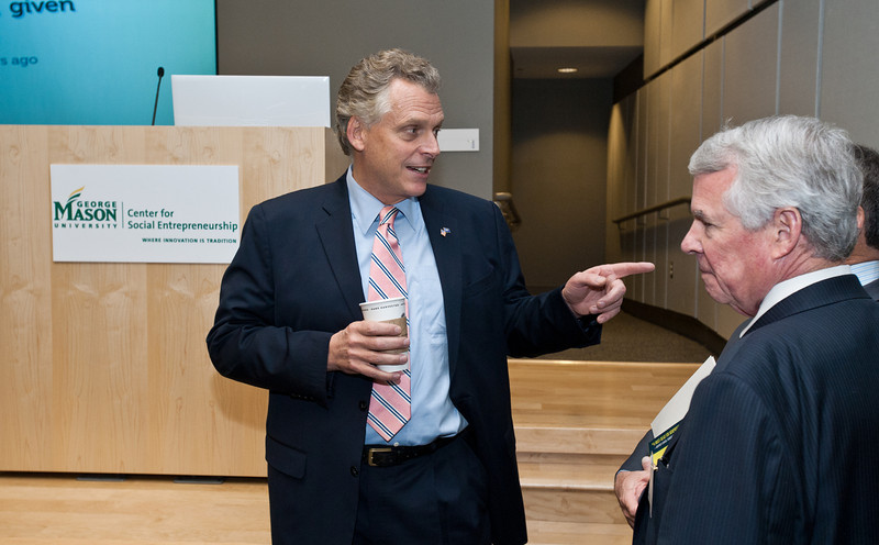 Terry McAuliffe, of GreenTech Automotive, arrives to speak at the Mason Center for Social Entrepreneurship's Accelerating Social Entrepreneurship conference at George Mason University's Arlington Campus.