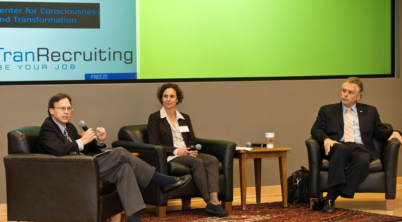(L for R) Paul Carttar, of Social Innovation Fund and Corporation for National and Community Service, Diana Wells, of Ashoka, and Terry McAuliffe, of GreenTech Automotive, speak at the Mason Center for Social Entrepreneurship's Accelerating Social Entrepreneurship conference at George Mason University's Arlington Campus.