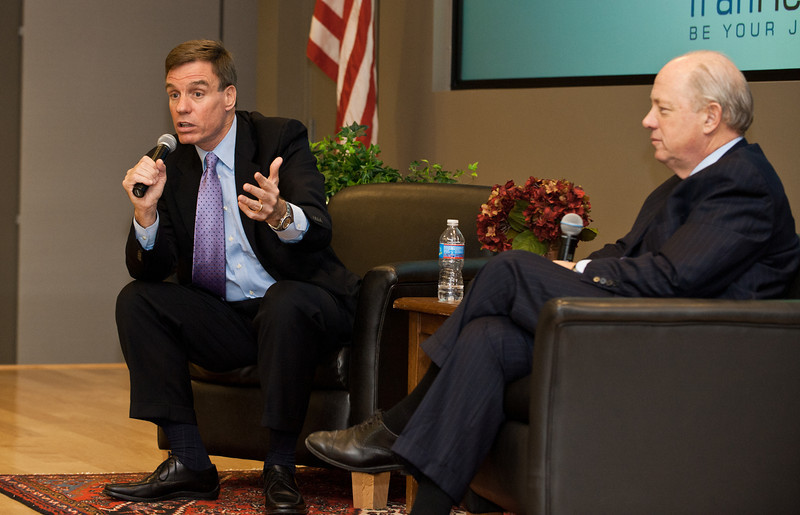 Virginia Senator Mark Warner (L) and Bill Shore, of Share our Strength, speak at the Mason Center for Social Entrepreneurship's Accelerating Social Entrepreneurship conference at George Mason University's Arlington Campus.