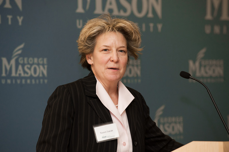 Nance Lucas, Dean of the Mason Center for Consciousness and Transformation, speaks at the Mason Center for Social Entrepreneurship's Accelerating Social Entrepreneurship conference at George Mason University's Arlington Campus.
