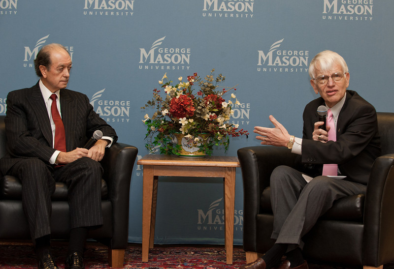 George Mason University President Dr. Alan Merten participates in a discussion with Mario Morino (L) of Venture Philanthropy Partners at the Mason Center for Social Entrepreneurship's Accelerating Social Entrepreneurship conference at George Mason University's Arlington Campus.