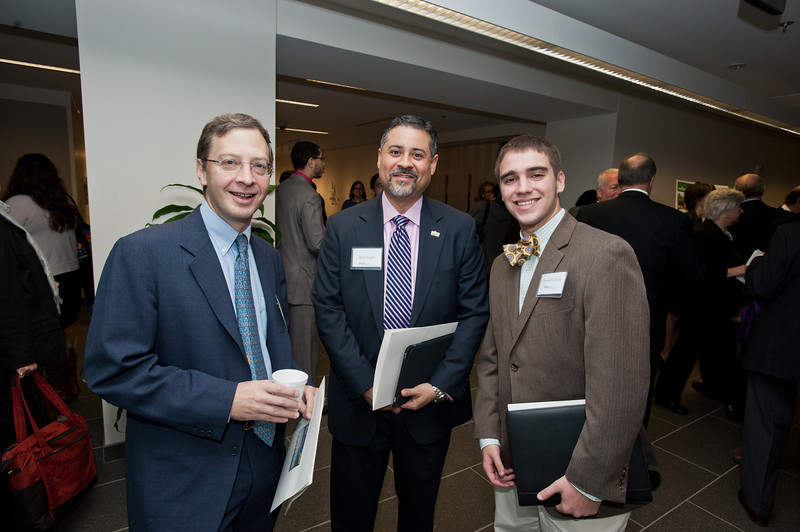 (L to R) Dean of the Mason School of Public Policy Edward Rhodes, Senior Associate Vice President of University Development Rick Virgin, and attendee Frank Petricoin attend the Mason Center for Social Entrepreneurship's Accelerating Social Entrepreneurship conference at George Mason University's Arlington Campus.