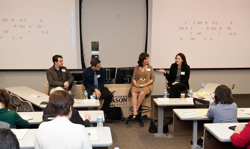 (L to R) William Huster of Compass Partners, Saul Garlick of ThinkImpact, Julie Kantor of Network for Teaching Entrepreneurship, and Marion Werkheiser of Mason Center for Social Entrepreneurship, speak at the Mason Center for Social Entrepreneurship's Accelerating Social Entrepreneurship conference at George Mason University's Arlington Campus.