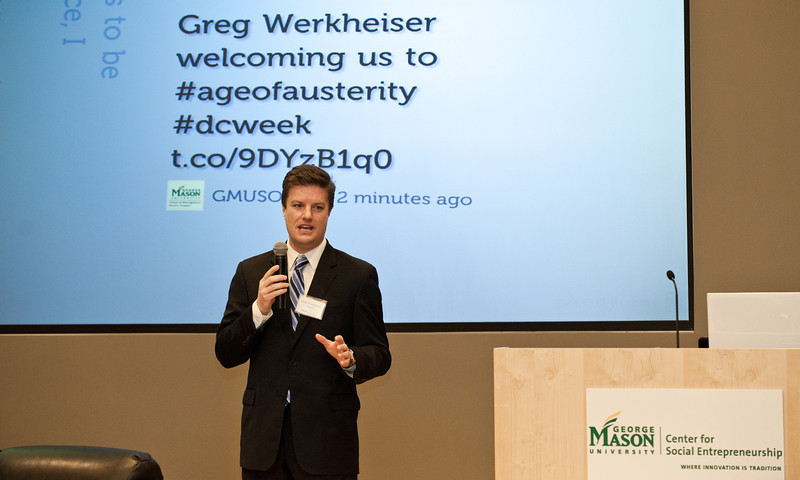 Greg Werkheiser, Managing Director of the Mason Center for Social Entrepreneurship, opens the Mason Center for Social Entrepreneurship's Accelerating Social Entrepreneurship conference at George Mason University's Arlington Campus.