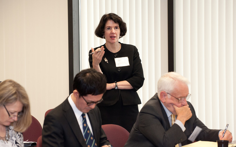 Anne Schiller, of the Office of Global Strategies, asks a question during a discussion at the Global Problem Solving Conference at Fairfax campus. Photo by Alexis Glenn/Creative Services/George Mason University