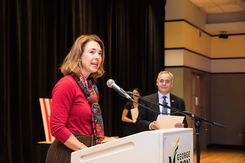 Beth Cabrera speaks during the 2016 Outstanding Achievement Awards. Photo by:  Ron Aira/Creative Services/George Mason University