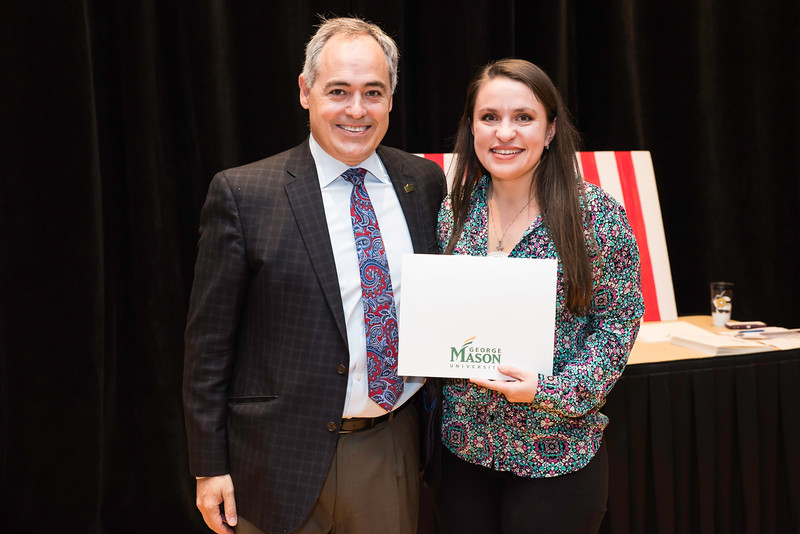 Elizabeth Battistini with President Ángel Cabrera at the 2016 Outstanding Achievement Awards.  Photo by:  Ron Aira/Creative Services/George Mason University