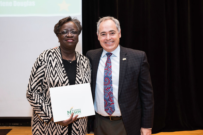 Charlene Douglas with President Ángel Cabrera at the 2016 Outstanding Achievement Awards.  Photo by:  Ron Aira/Creative Services/George Mason University