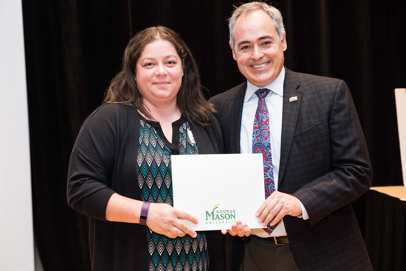 Heather Strange with President Ángel Cabrera at the 2016 Outstanding Achievement Awards.  Photo by:  Ron Aira/Creative Services/George Mason University