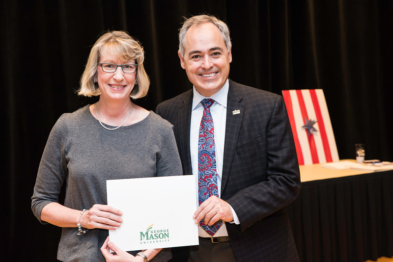 Mary Schifferli with President Ángel Cabrera at the 2016 Outstanding Achievement Awards.  Photo by:  Ron Aira/Creative Services/George Mason University
