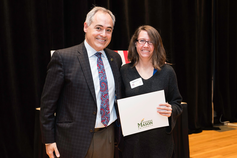 Rebecca Diemer with President Ángel Cabrera at the 2016 Outstanding Achievement Awards.  Photo by:  Ron Aira/Creative Services/George Mason University