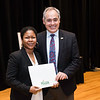 Taneisha Mazyck with President Ángel Cabrera at the 2016 Outstanding Achievement Awards.  Photo by:  Ron Aira/Creative Services/George Mason University
