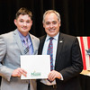 Ryan Barnett with President Ángel Cabrera at the 2016 Outstanding Achievement Awards.  Photo by:  Ron Aira/Creative Services/George Mason University