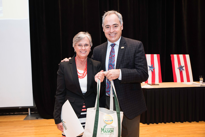 Nancy Pickens with President Ángel Cabrera at the 2016 Outstanding Achievement Awards.  Photo by:  Ron Aira/Creative Services/George Mason University