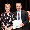 Pam Thomson with President Ángel Cabrera at the 2016 Outstanding Achievement Awards.  Photo by:  Ron Aira/Creative Services/George Mason University