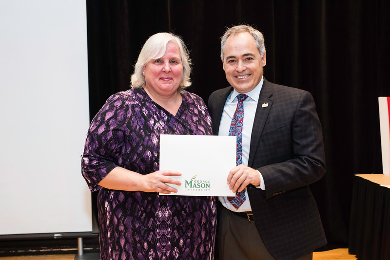 Molly Grove with President Ángel Cabrera at the 2016 Outstanding Achievement Awards.  Photo by:  Ron Aira/Creative Services/George Mason University