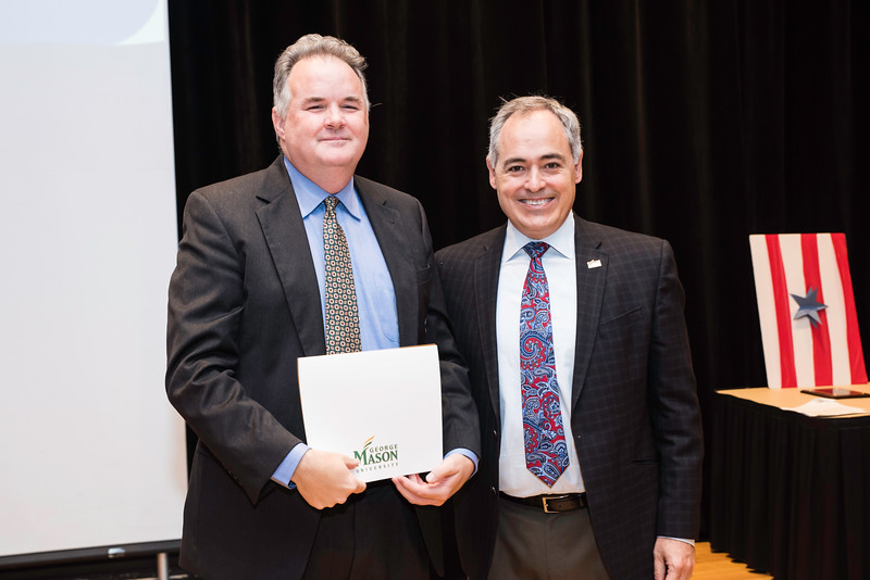 Shaun Dakin with President Ángel Cabrera at the 2016 Outstanding Achievement Awards.  Photo by:  Ron Aira/Creative Services/George Mason University