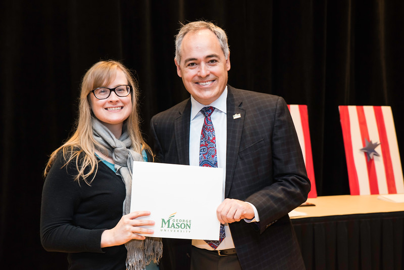 Stephanie Smith with President Ángel Cabrera at the 2016 Outstanding Achievement Awards.  Photo by:  Ron Aira/Creative Services/George Mason University