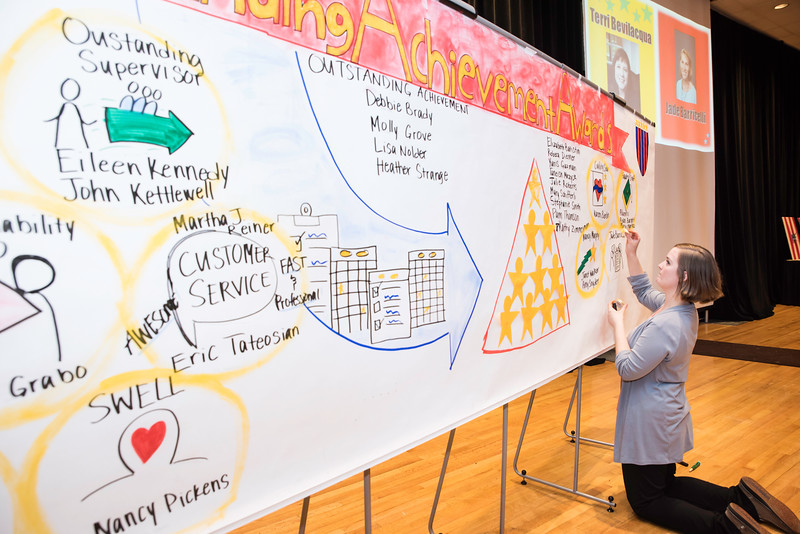 A banner at the 2016 Outstanding Achievement Awards. Photo by Ron Aira/Creative Services/George Mason University
