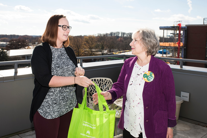 Susan Eckis, office manager for the School of Nursing in the College of Health and Human Services is the Employee of The Month for December 2016.  Photo by:  Ron Aira/Creative Services/George Mason University