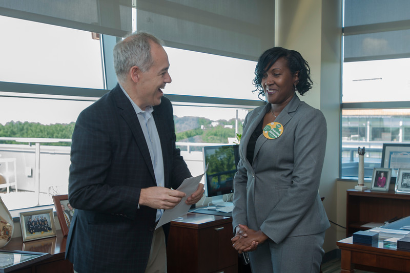 President Ángel Cabrera presents the Employee of the Month award for June 2017 to Patrice Bolton.  Photo by Bethany Camp/Creative Services/George Mason University