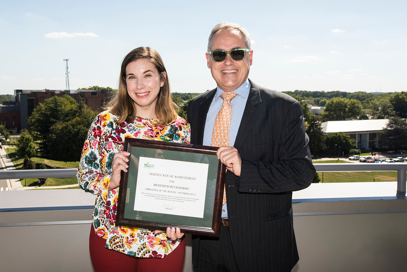 Meredith Muckerman, Communications and Technology Manager, Safety, Emergency and Enterprise Risk Management is Employee of the Month for October 2017 . Photo by:  Ron Aira/Creative Services/George Mason University
