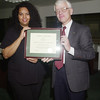 Lisa Carr - Employee of the Month - November 2001 - with President Alan Merten