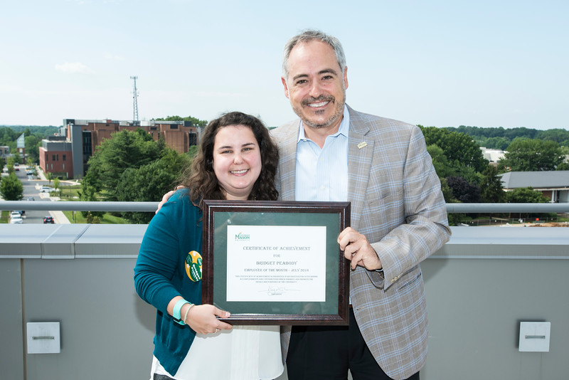 Bridget Peabody, training assistant for Human Resources and Payroll is George Mason University's July 2016 Employee of the Month.  Photo by:  Ron Aira/Creative Services/George Mason University