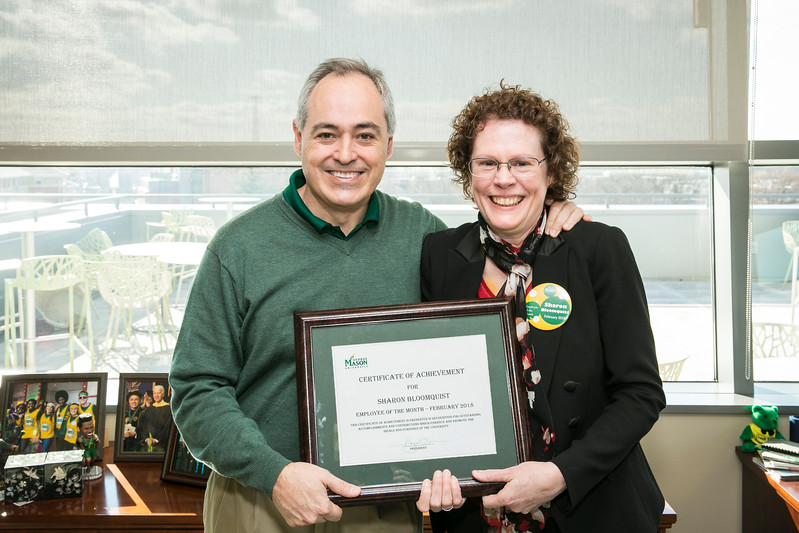 Sharon Bloomquist, Graduate Program Coordinator, Environmental Science and Policy is the Employee of the Month for February 2018.  Photo by:  Ron Aira/Creative Services/George Mason University