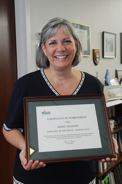 Mary Jackson, graduate coordinator in the Economics Department, has been named Mason's August 2010 Employee of the Month.
