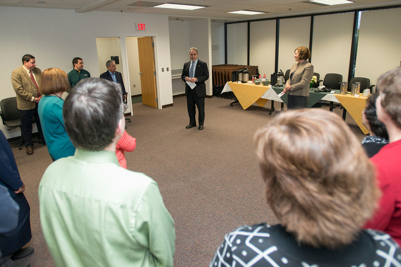 President Ángel Cabrera and the 2012 Employees of the Month attend a reception at Fairfax campus. Photo by Alexis Glenn/Creative Services/George Mason University