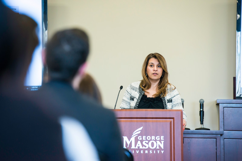 Patricia Coray speaks to faculty and staff, who are responsible for hiring non-benefitted employees, joining Equifax and staff from HR & Payroll for training on the new Electronic Onboarding process.  Photo by Ron Aira/Creative Services/George Mason University