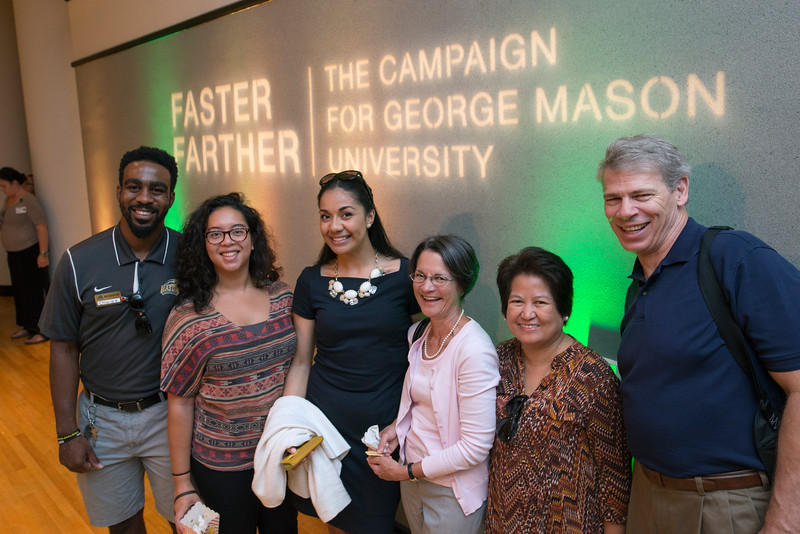 Faculty, staff alumni and students come together to kick off Faster Farther—The Campaign for George Mason University to experience 3-D printing, Robotics, Game Design, the Mason Greenhouse, and Pluto exploration. Photo by Evan Cantwell/Creative Services/George Mason University