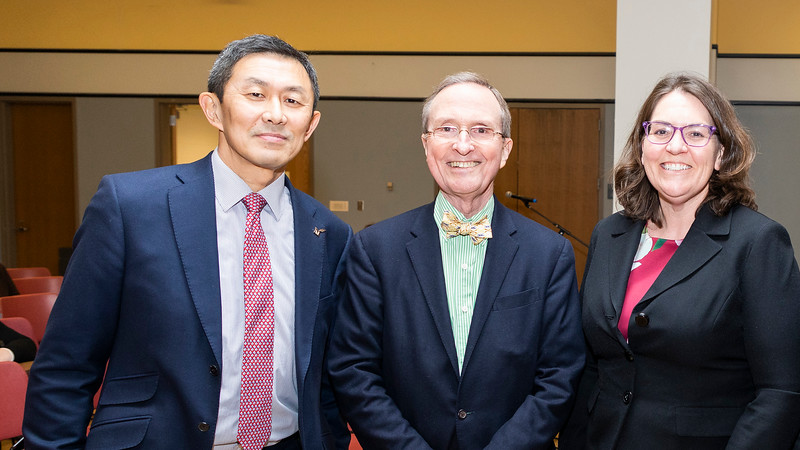 Provost S. Davide Wu, University Professor Thomas Lovejoy, Associate Vice President Aurali Dade and Mason President Ángel Cabrera at the launch of the Institute for a Sustainable Earth. Photo by Lathan Goumas/Strategic Communications