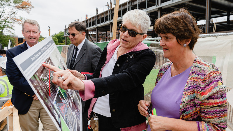 George Mason University President Anne Holton talks with Cathy Pinskey, Program Director in Mason's facilities department about the construction of a new academic building as part of the Core Campus Project. Photo by Lathan Goumas/Office of Communications and Marketing <br /> <br /> Photo Taken:Wednesday, August 28, 2019