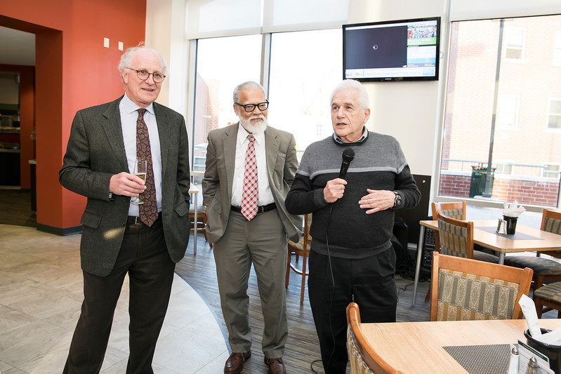 Steven Pearlstein, Rutledge Dennis, and Joe Scimecca, at the Mason Club, a new faculty and staff dining room and lounge opening in Fairfax Campus.  Photo by:  Ron Aira/Creative Services/George Mason University