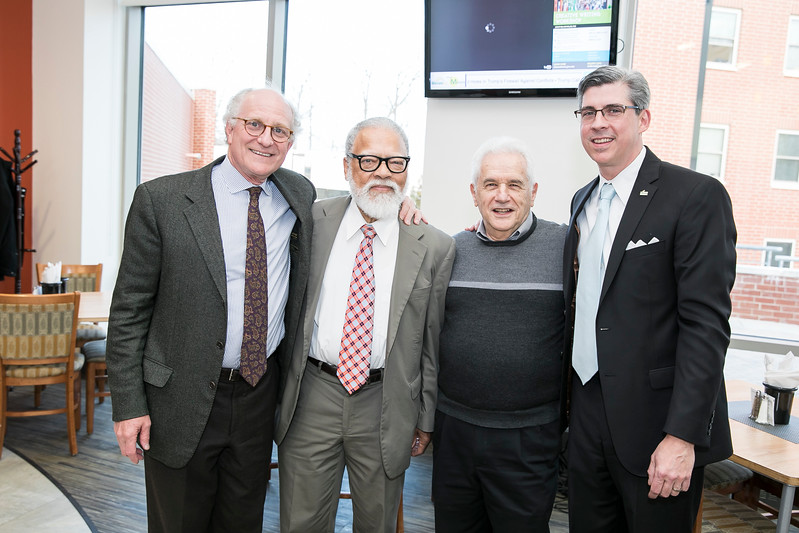 Steven Pearlstein, Rutledge Dennis, and Joe Scimecca, and Marc Fournier, at the Mason Club, a new faculty and staff dining room and lounge opening in Fairfax Campus.  Photo by:  Ron Aira/Creative Services/George Mason University