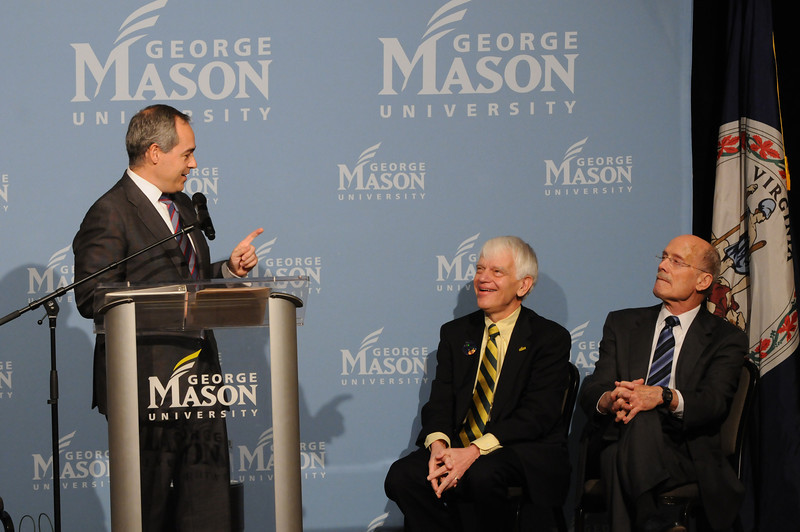 111215114 - (L to R) Dr. Angel Cabrera, President-Elect; Alan Merten, President of George Mason University; and  Ernst Volgenau on December 15, 2011 at the Mason Inn at Fairfax Campus. Photo by Evan Cantwell/Creative Services/George Mason University