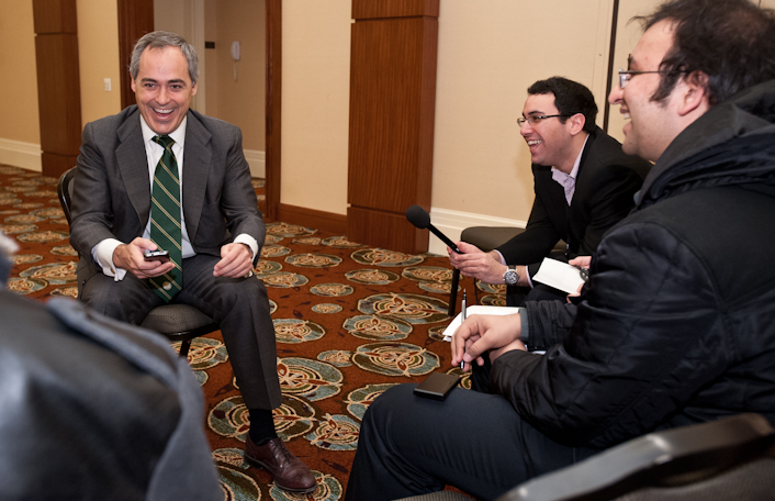 111215512s - Following the announcement of his appointment, Dr. Ángel Cabrera, Mason president-elect, met with members of Mason student media. Photo by Alexis Glenn/Creative Services/George Mason University.