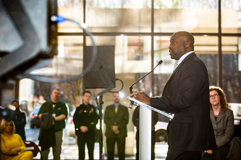 Dr. Gregory Washington, George Mason University's eighth president, is introduced by the Board of Visitors at a reception at the Center for the Arts.  Photo by:  Ron Aira/Creative Services/George Mason University